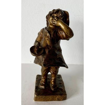 Little Girl With Candle, Bronze Sculpture