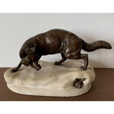 Fox Tracking A Hare, Bronze Subject