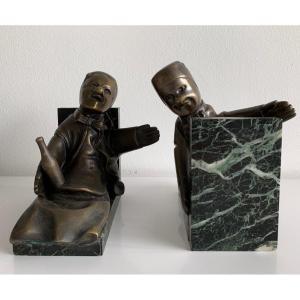 Gignol Et Gnafron , Serre Livres En Bronze