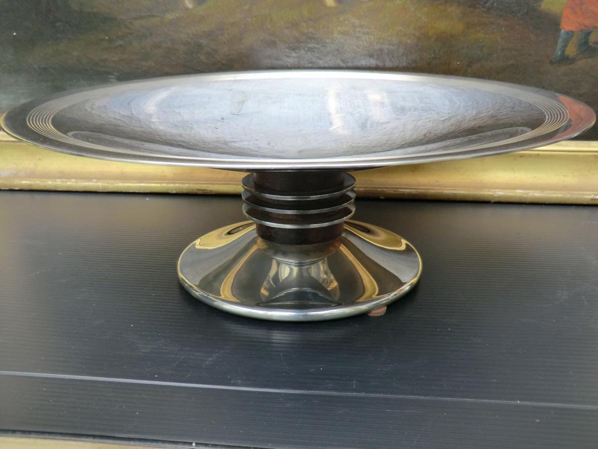 Grande Coupe Métal Argenté Christofle 1930 Art Déco Style Luc Lanel