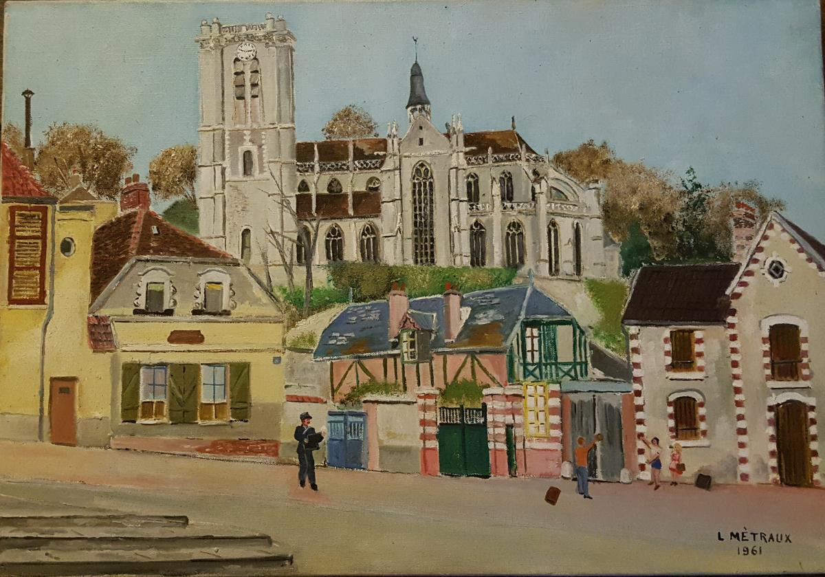 Tableau De Lucien Mètraux 1961 église De Chaumont En Vexin Oise.