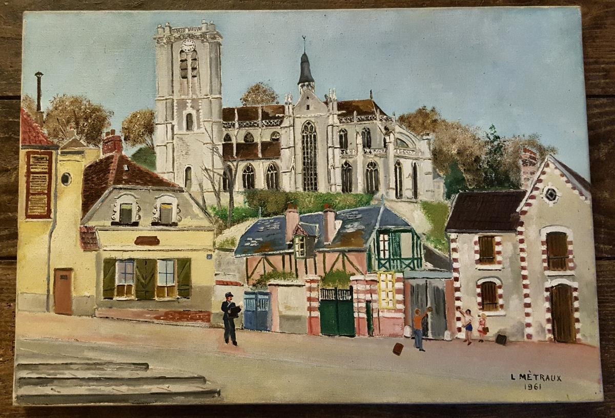 Tableau De Lucien Mètraux 1961 église De Chaumont En Vexin Oise.-photo-2