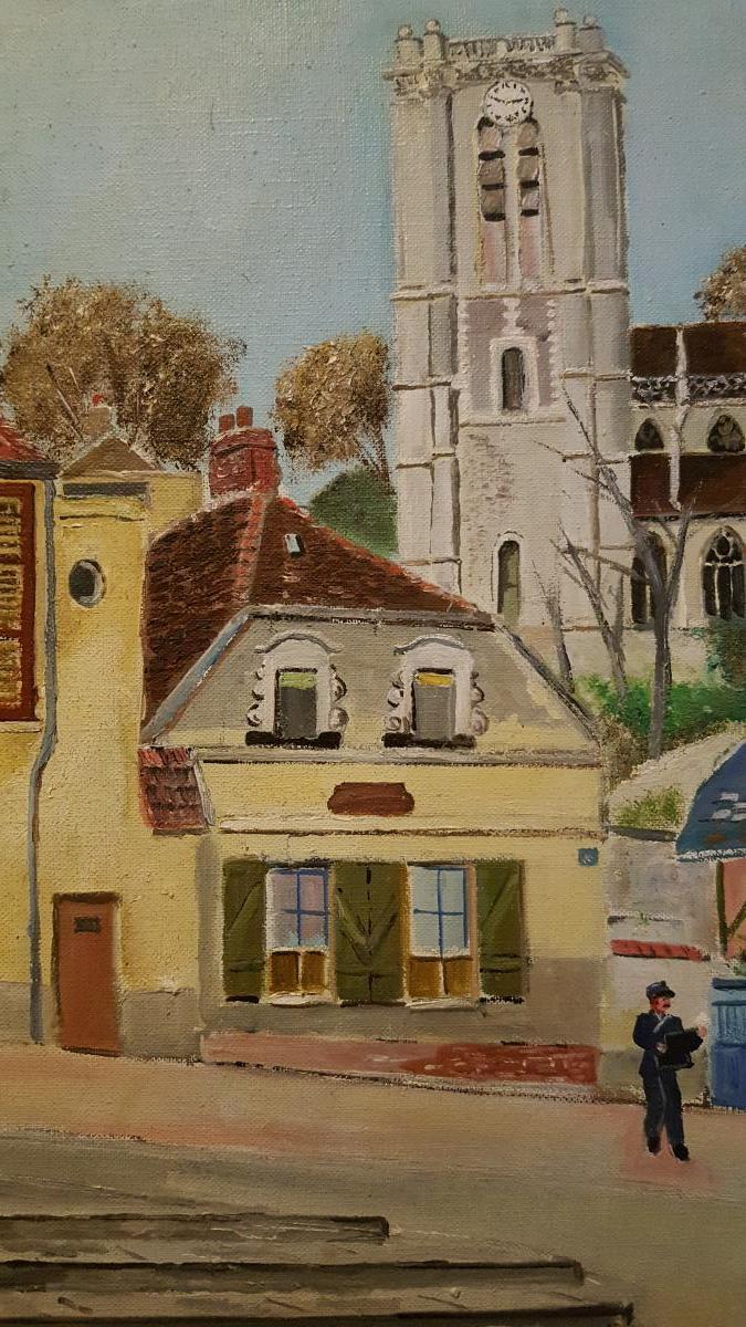 Tableau De Lucien Mètraux 1961 église De Chaumont En Vexin Oise.-photo-3