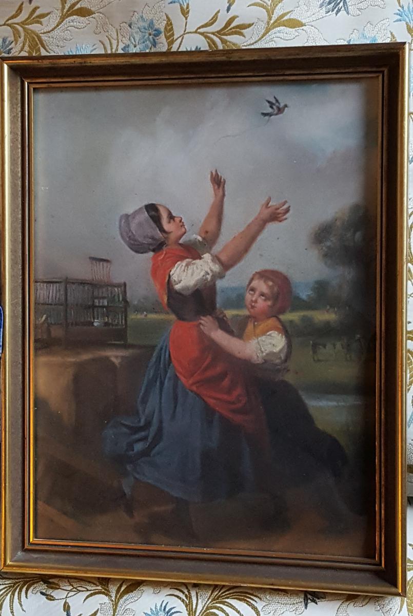 Pastel 19ème Attr. Dillens Hendrick Joseph (1812-1872) école Belge Vers 1850.-photo-2