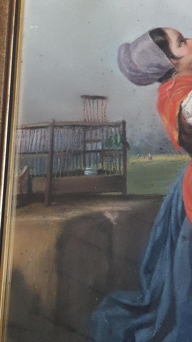 Pastel 19ème Attr. Dillens Hendrick Joseph (1812-1872) école Belge Vers 1850.-photo-3