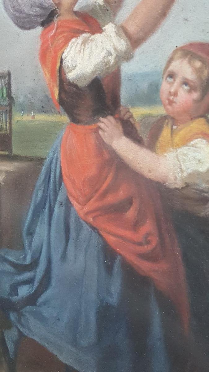 Pastel 19ème Attr. Dillens Hendrick Joseph (1812-1872) école Belge Vers 1850.-photo-4