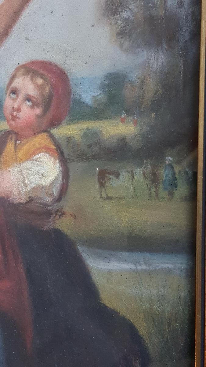 Pastel 19ème Attr. Dillens Hendrick Joseph (1812-1872) école Belge Vers 1850.-photo-1