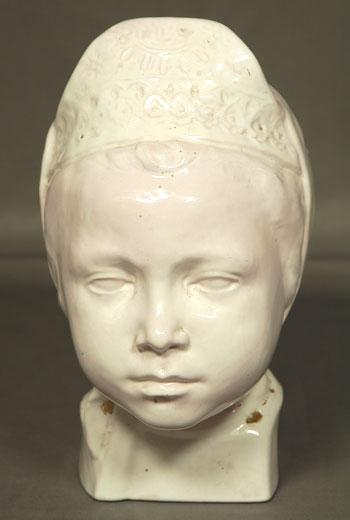 Tête De Jeune Fille Bretonne Terre Cuite d'Atelier St. René Quillivic (1879-1869)-photo-3