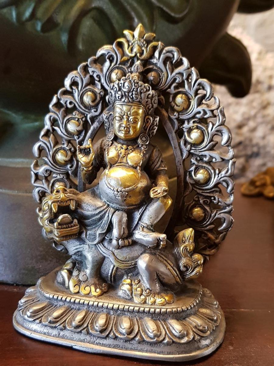 Bouddha Vaishravana En Bronze Argent 19ème -photo-2