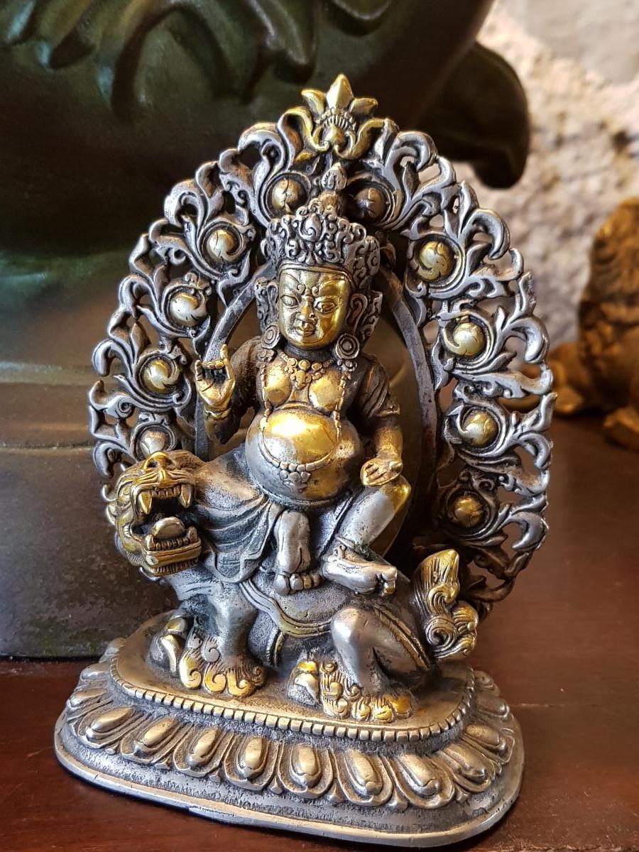 Bouddha Vaishravana En Bronze Argent 19ème -photo-3