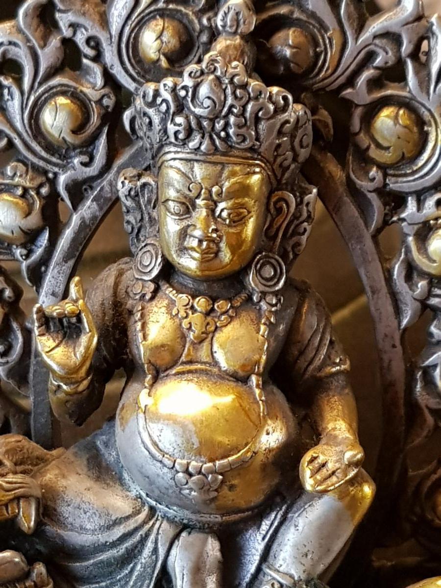 Bouddha Vaishravana En Bronze Argent 19ème -photo-1
