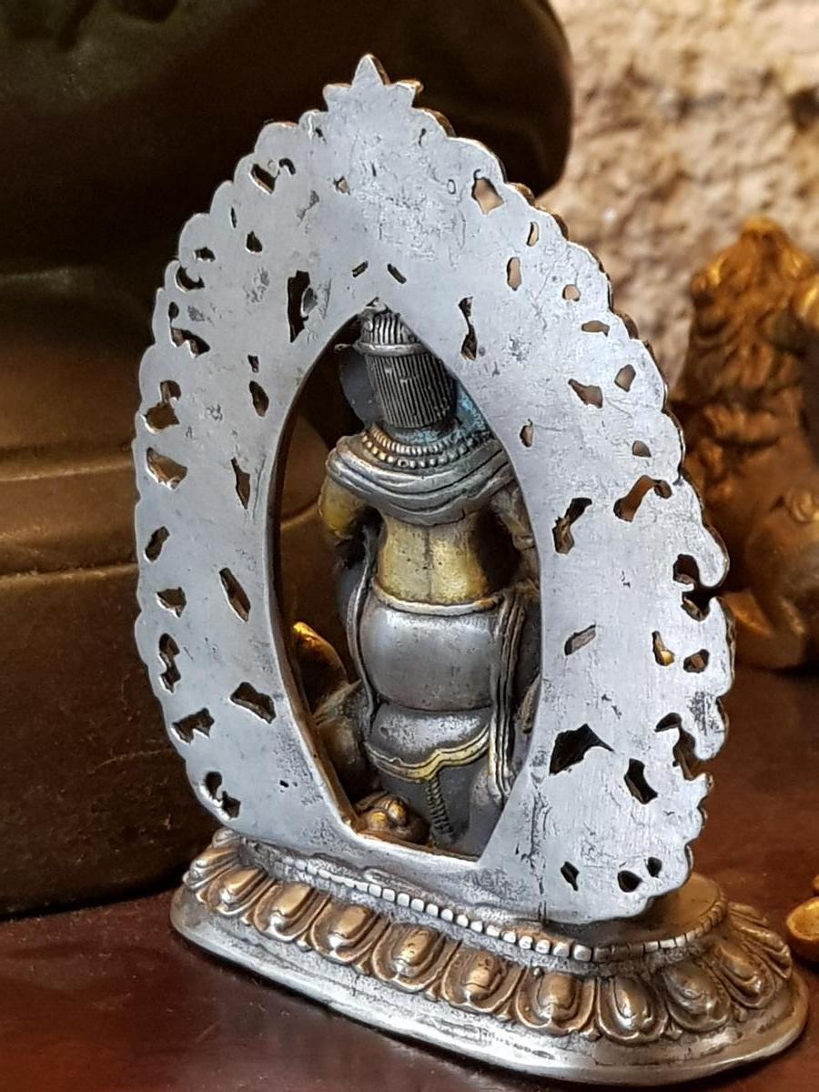 Bouddha Vaishravana En Bronze Argent 19ème -photo-4