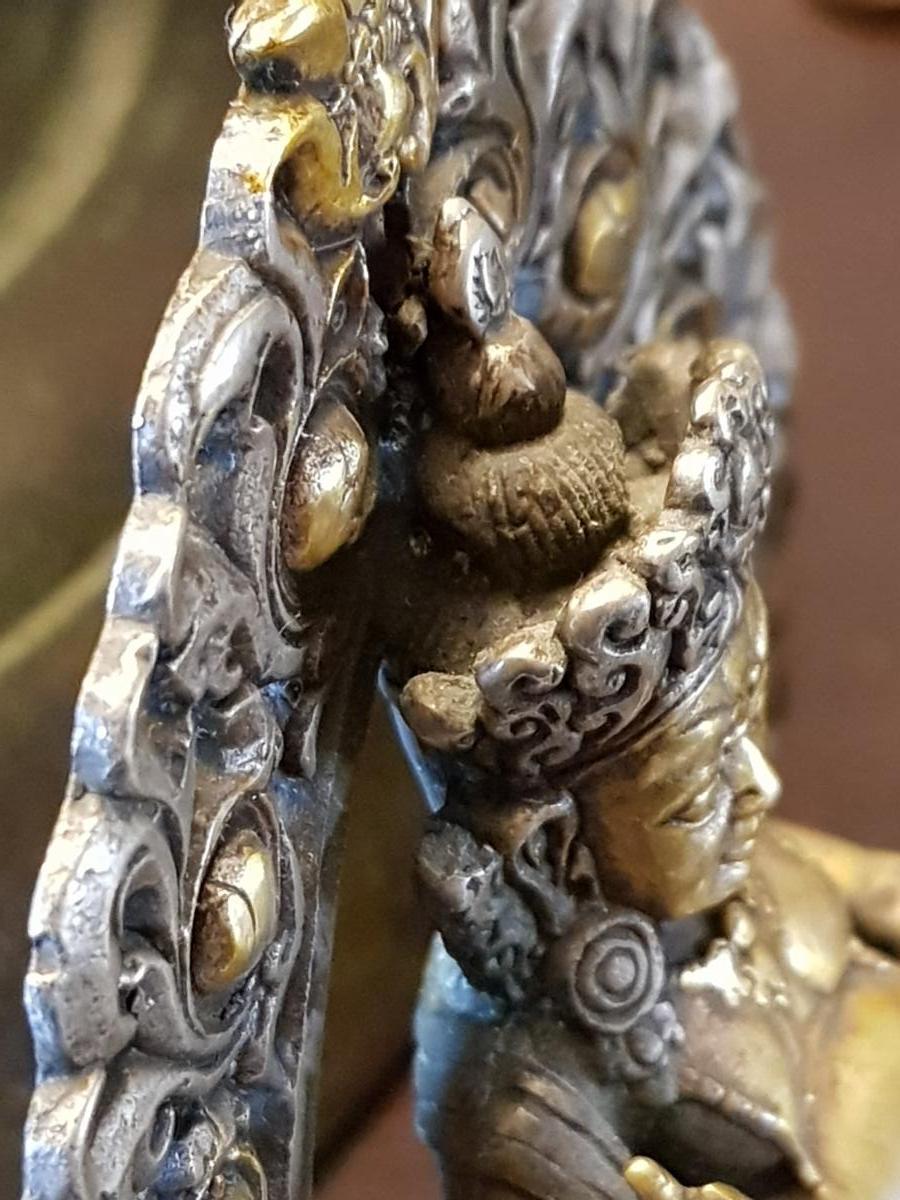 Bouddha Vaishravana En Bronze Argent 19ème -photo-6