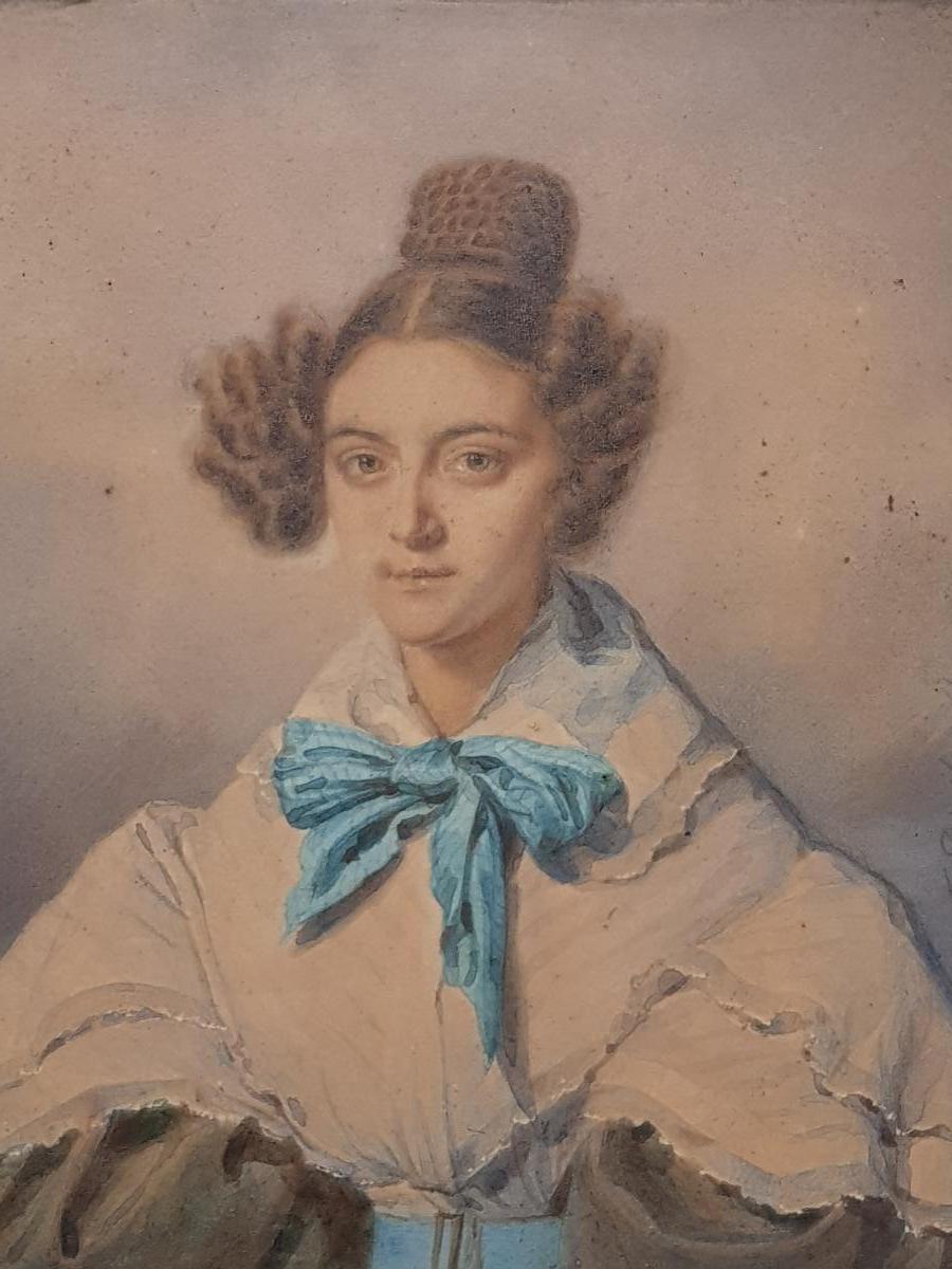 Aquarelle Portrait Johann Friedrich Dietler (1804-1874) Alix Binsse-photo-2