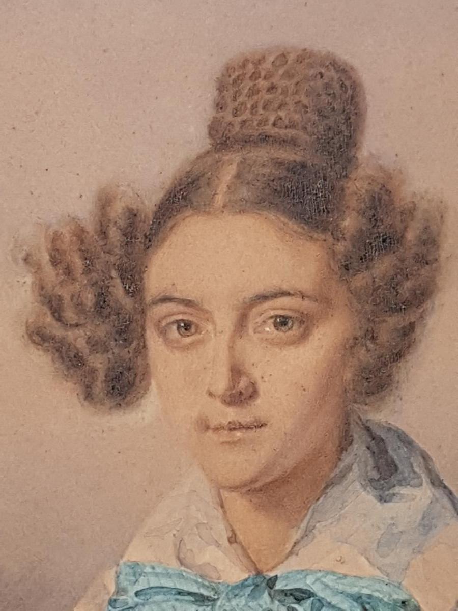Aquarelle Portrait Johann Friedrich Dietler (1804-1874) Alix Binsse-photo-3