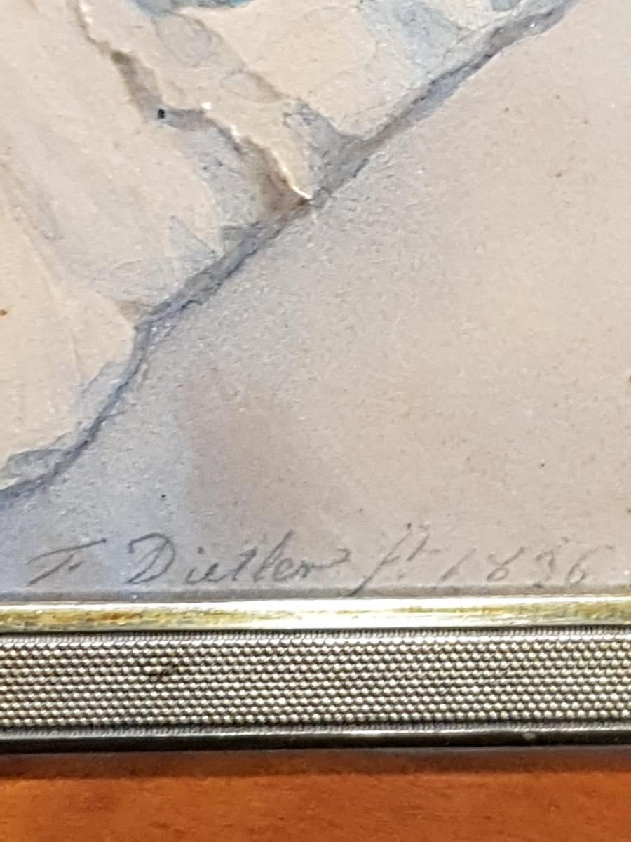 Aquarelle Portrait Johann Friedrich Dietler (1804-1874) Alix Binsse-photo-4