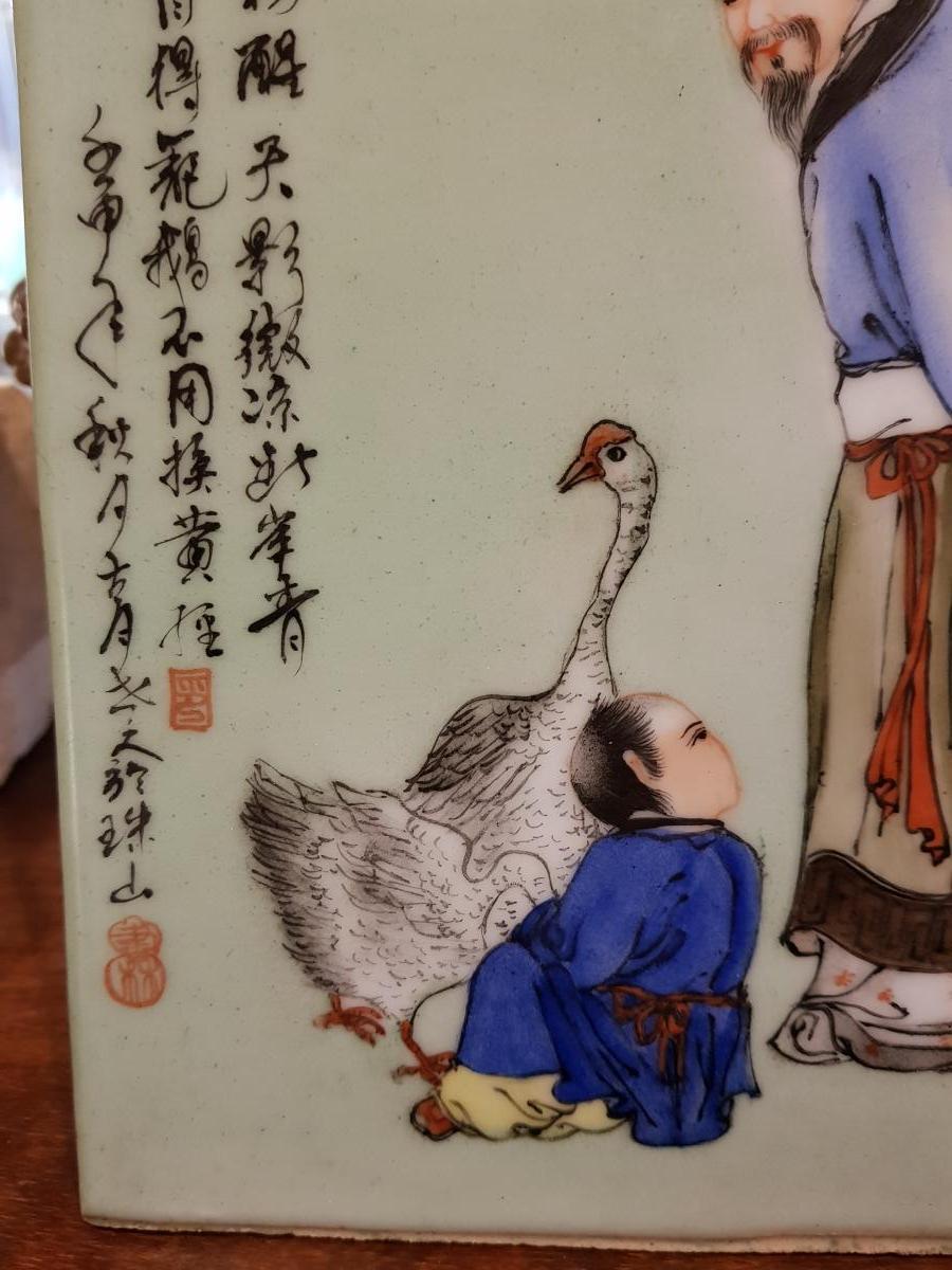 Plaque En Porcelaine De Chine Decor A l'Enfant Et Oie Calligraphies-photo-3