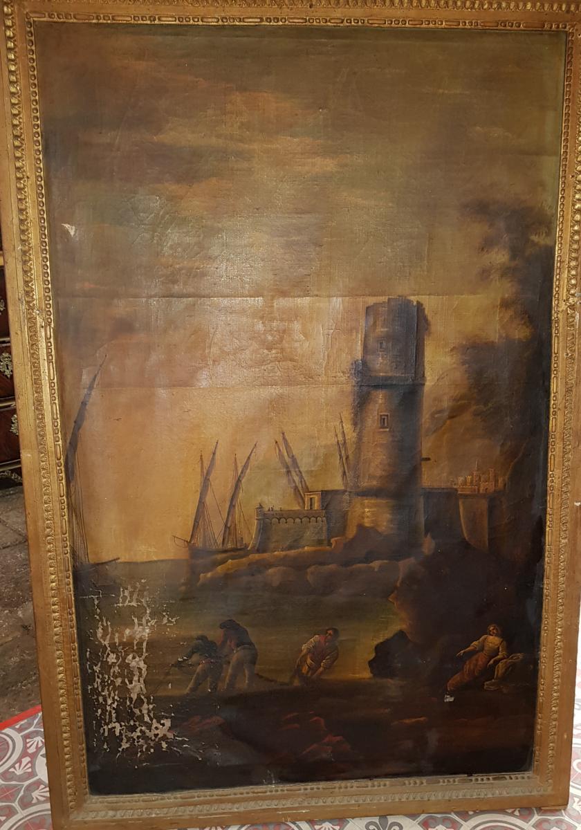 Tableau 18ème Scène Portuaire Avec Pêcheurs Et Voiliers