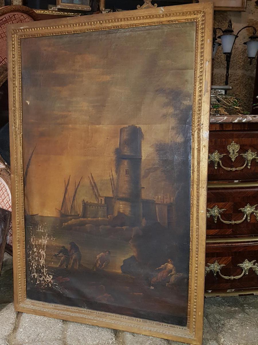 Tableau 18ème Scène Portuaire Avec Pêcheurs Et Voiliers Lacroix de Marseille-photo-3