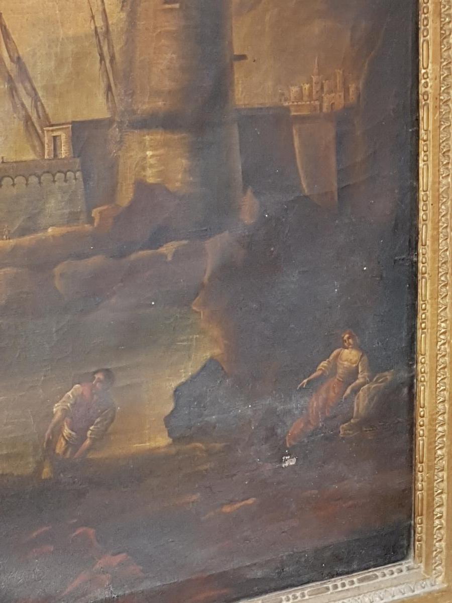 Tableau 18ème Scène Portuaire Avec Pêcheurs Et Voiliers Lacroix de Marseille-photo-4
