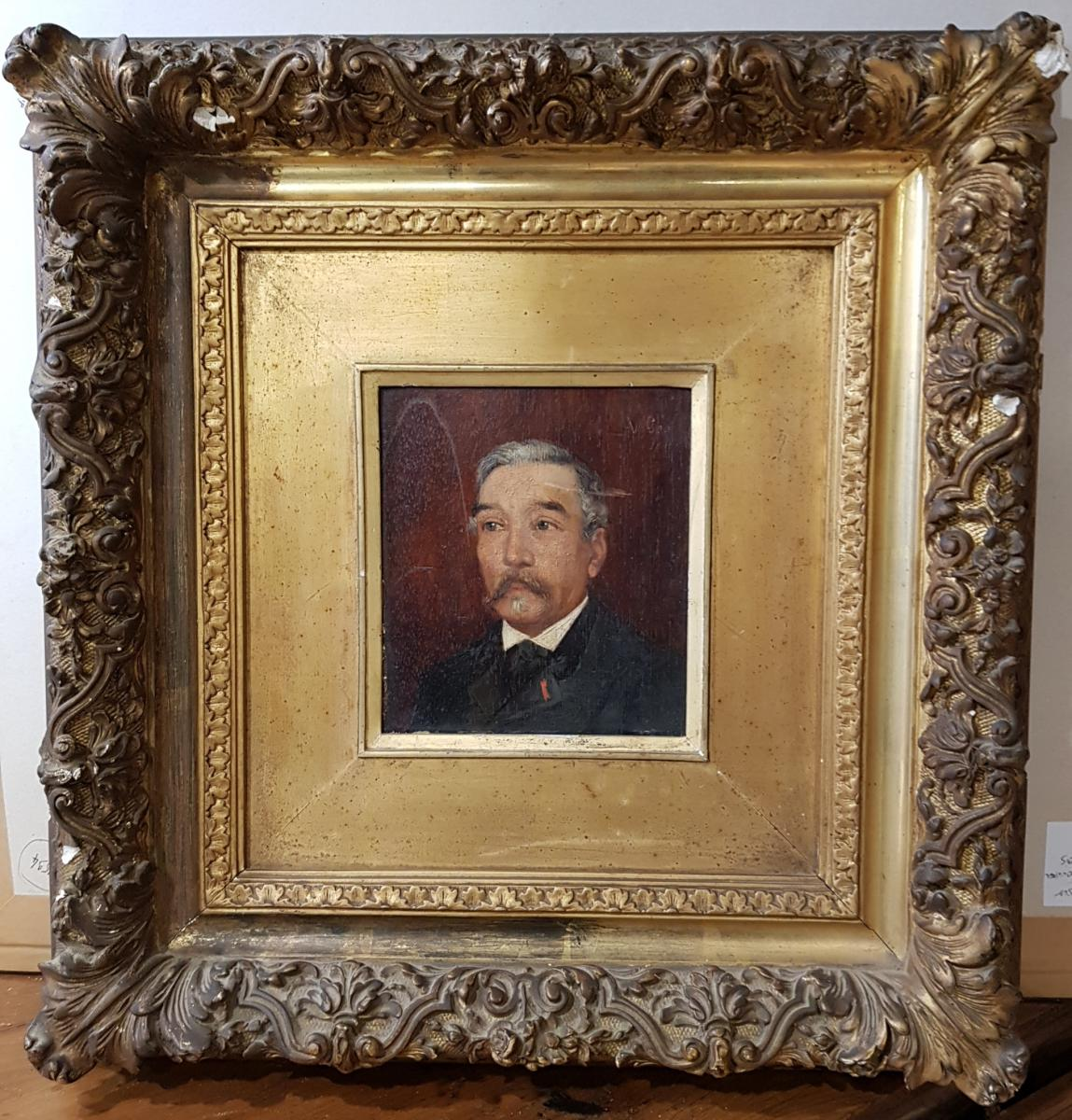 Table Portrait Of Mayor Signed V.geo And Dated 1891 In Its Golden Frame