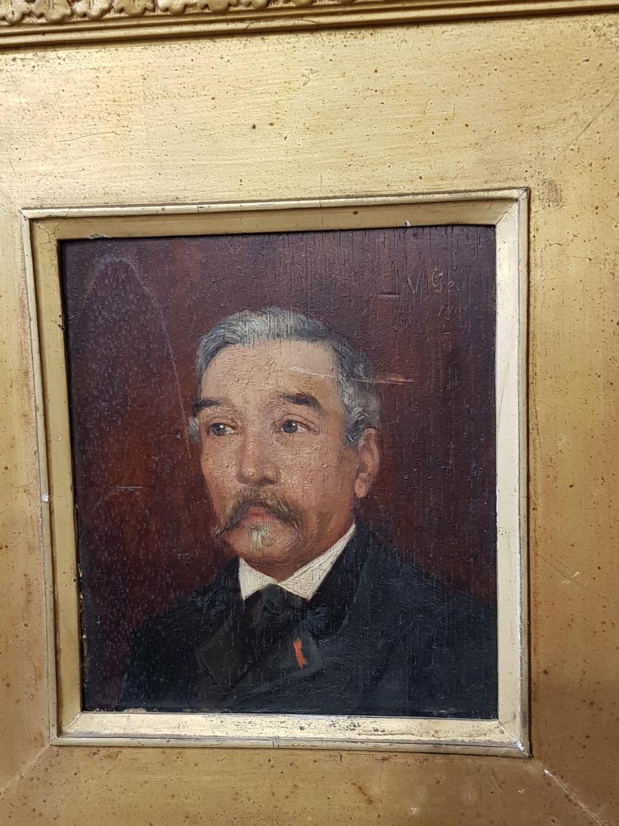 Tableau Portrait De Maire Signé V.géo Et Daté 1891 Dans Son Cadre Doré-photo-3