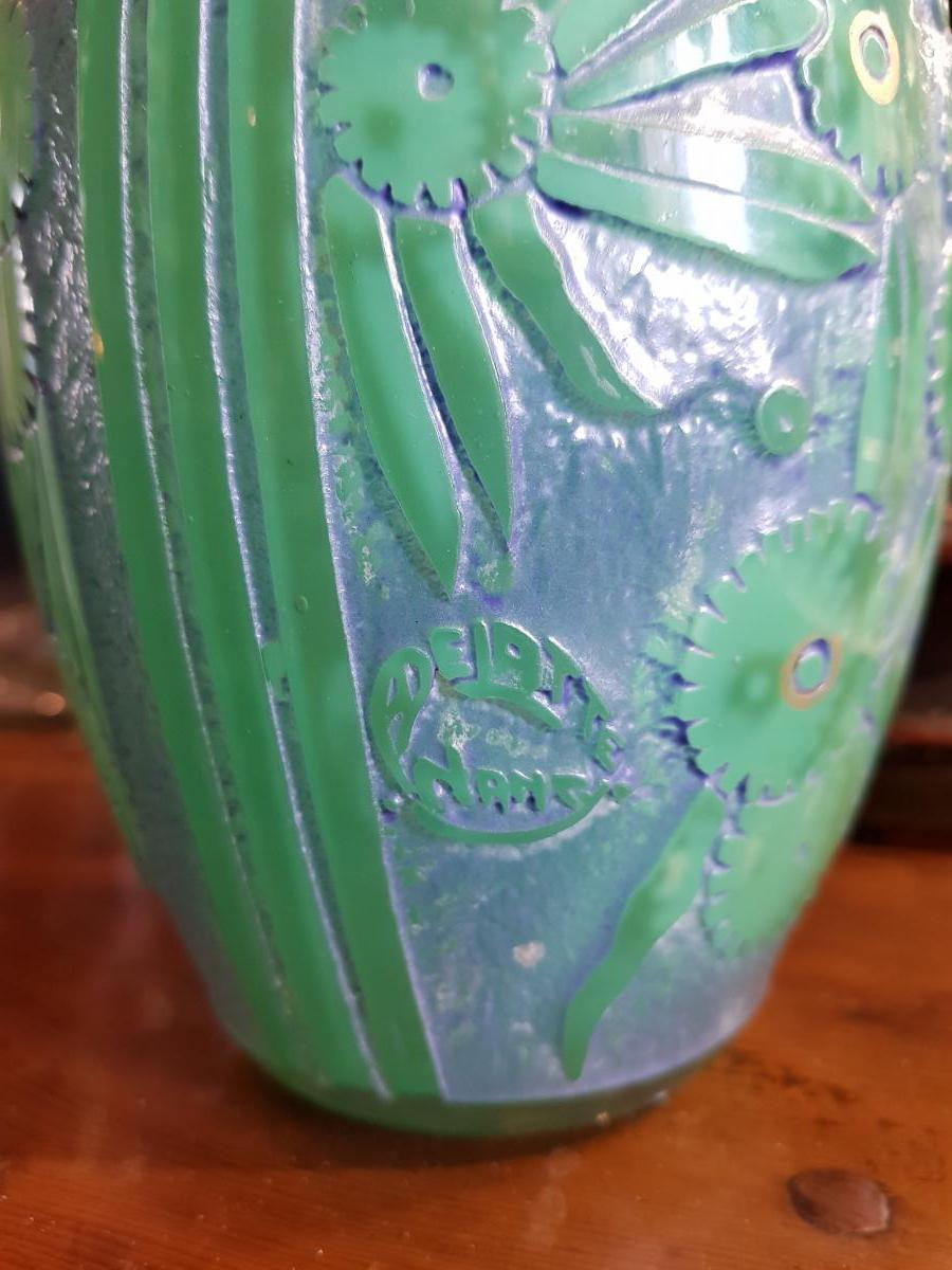 Vase Delatte Nancy Verre Multicouche Et Dorure-photo-1