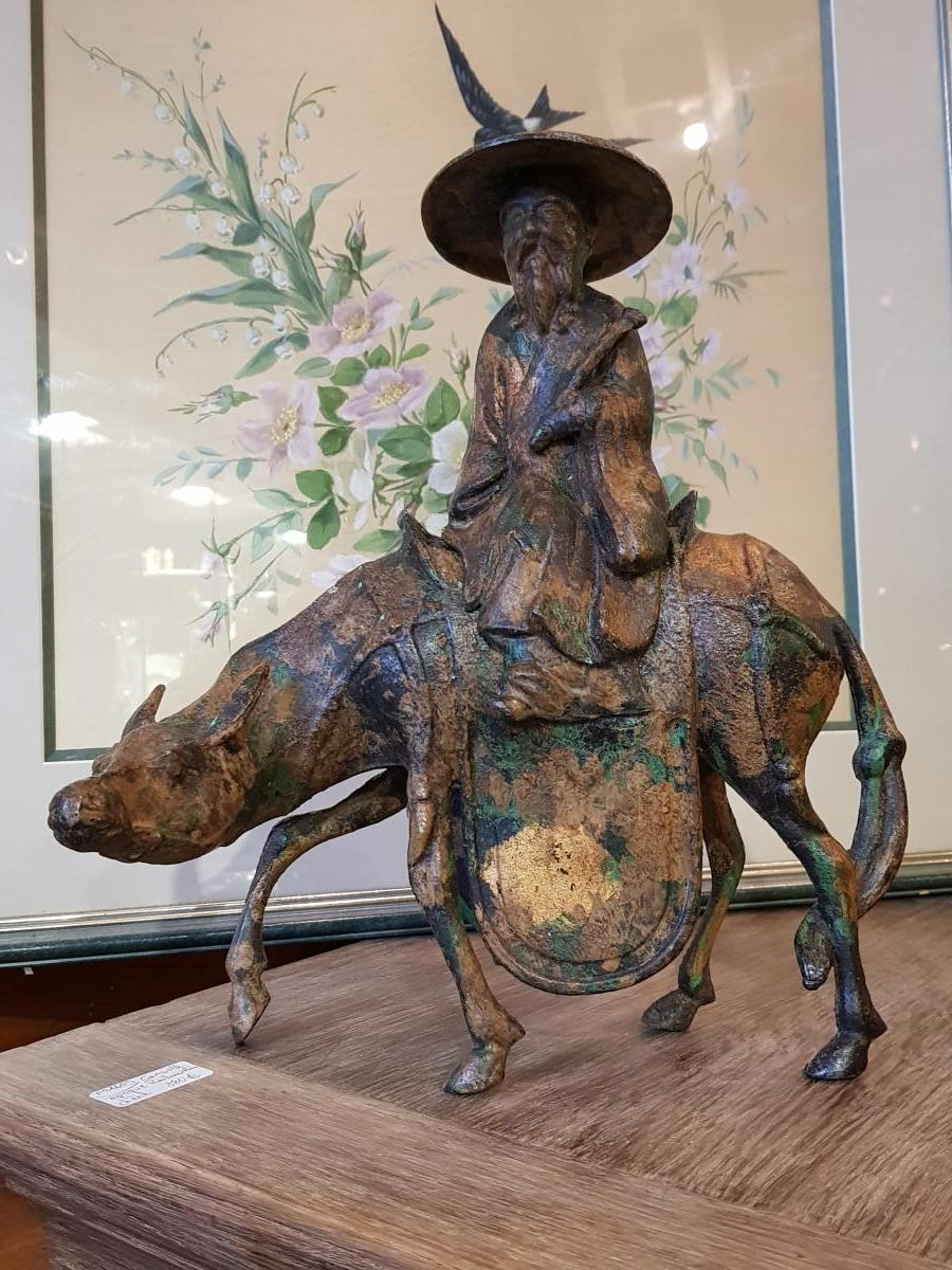 Sculpture Japonaise Représentant Toba Sur Sa Mule Fonte Fer-photo-2