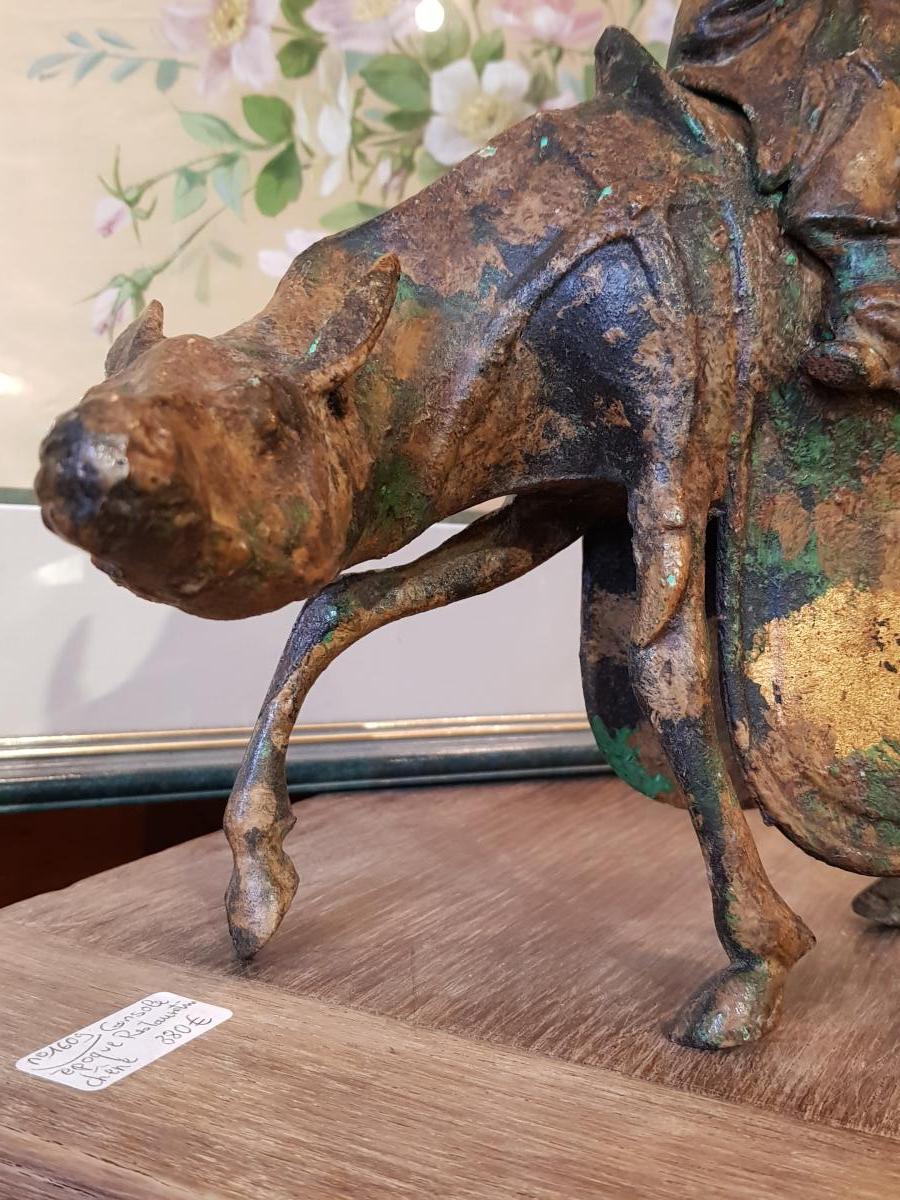 Sculpture Japonaise Représentant Toba Sur Sa Mule Fonte Fer-photo-4