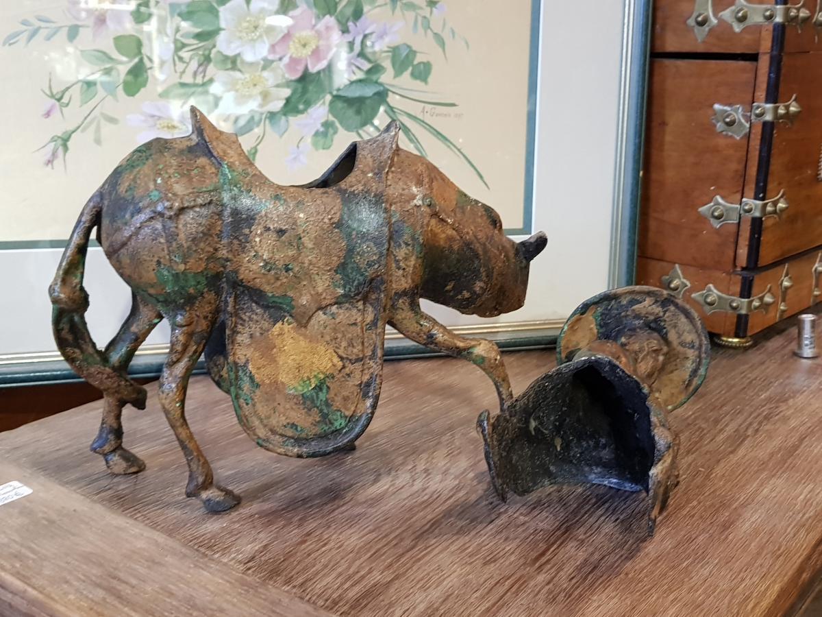 Sculpture Japonaise Représentant Toba Sur Sa Mule Fonte Fer-photo-3
