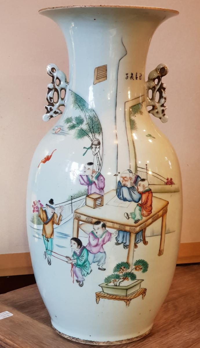 Vase Chinois Vers 1900 Enfants S'amusant Pendant La Sièste Du Maitre Qianjiang Cai