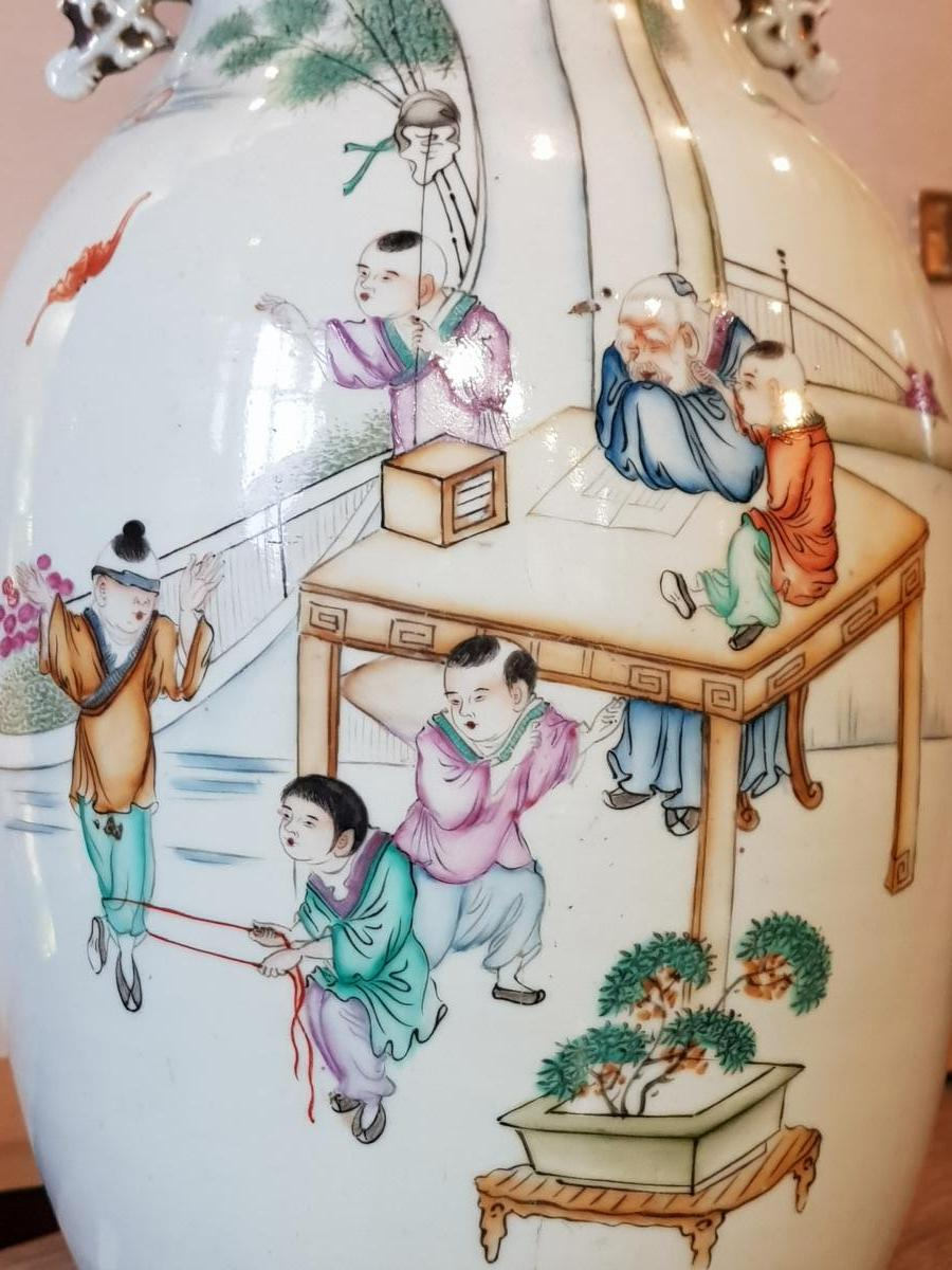 Vase Chinois Vers 1900 Enfants S'amusant Pendant La Sièste Du Maitre Qianjiang Cai-photo-2