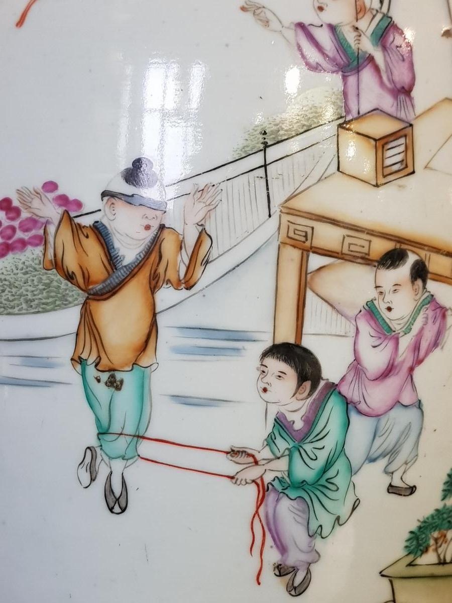 Vase Chinois Vers 1900 Enfants S'amusant Pendant La Sièste Du Maitre Qianjiang Cai-photo-3