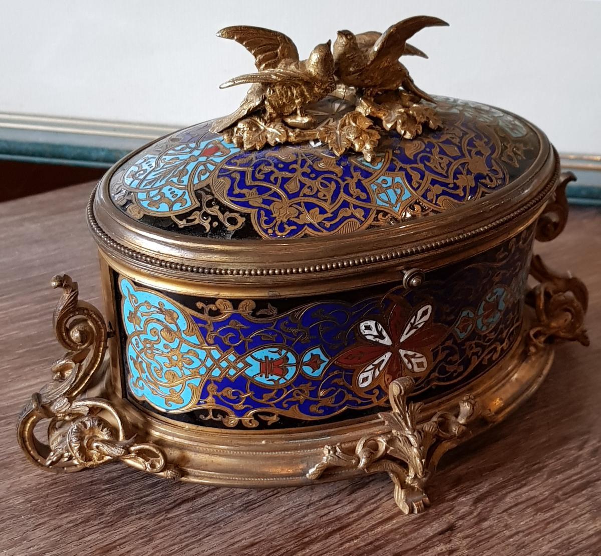 Coffret En Bronze Doré Et Emaux Cloisonnés Alphonse Giroux Paris -photo-2