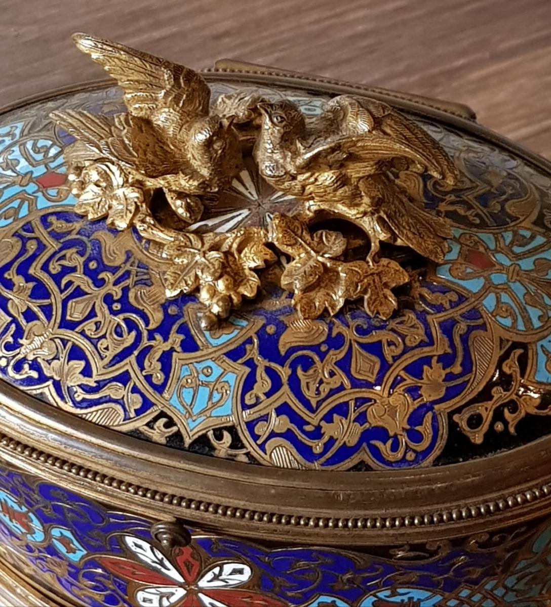 Coffret En Bronze Doré Et Emaux Cloisonnés Alphonse Giroux Paris -photo-3
