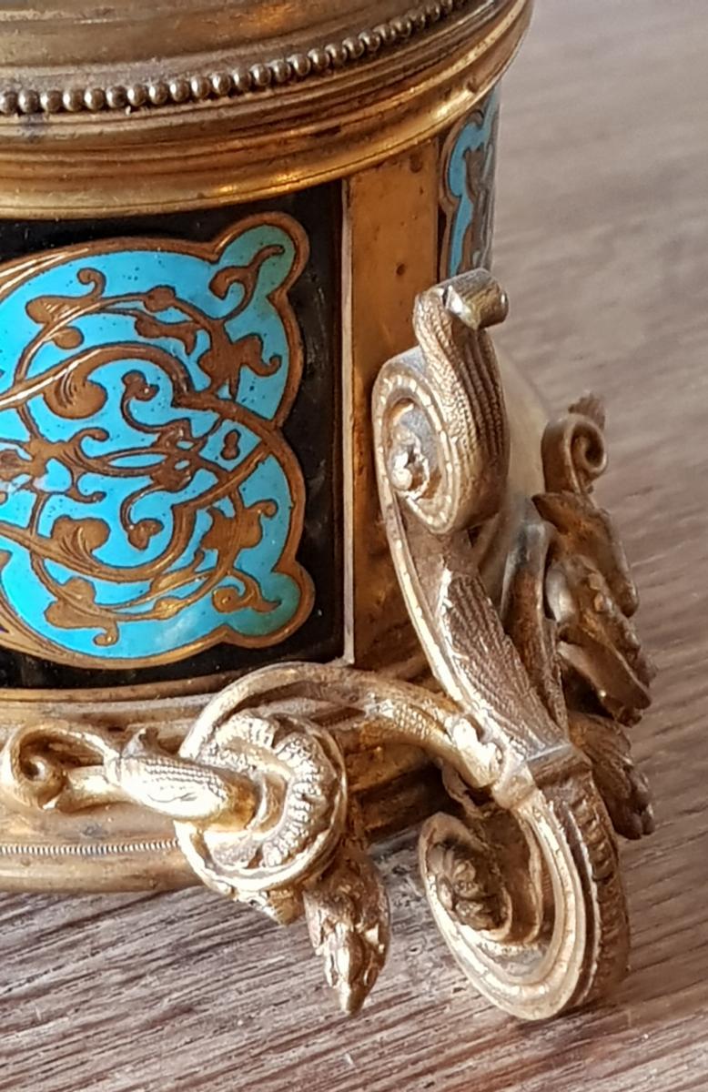 Coffret En Bronze Doré Et Emaux Cloisonnés Alphonse Giroux Paris -photo-4