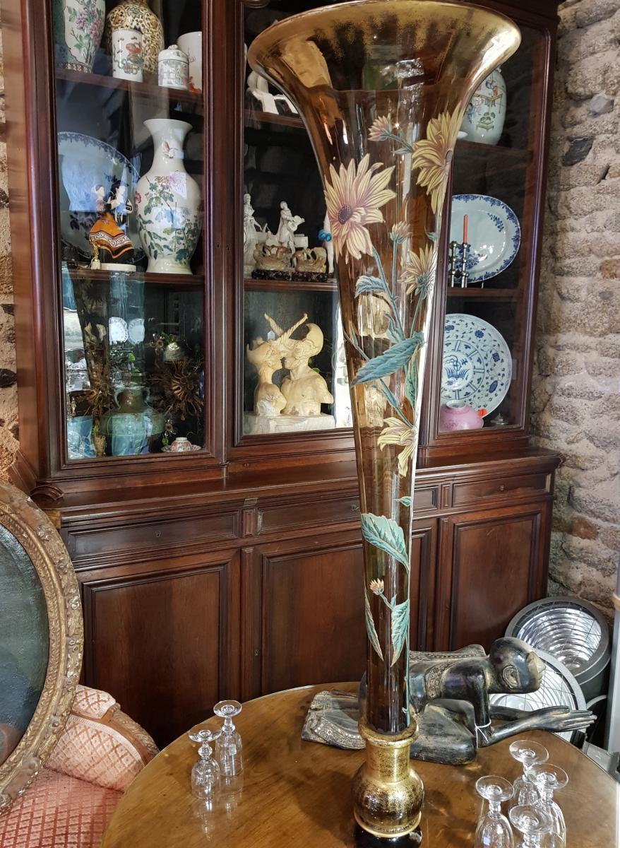 Monumental Vase De 118 Cm Legras Ou Gallé Vers 1880