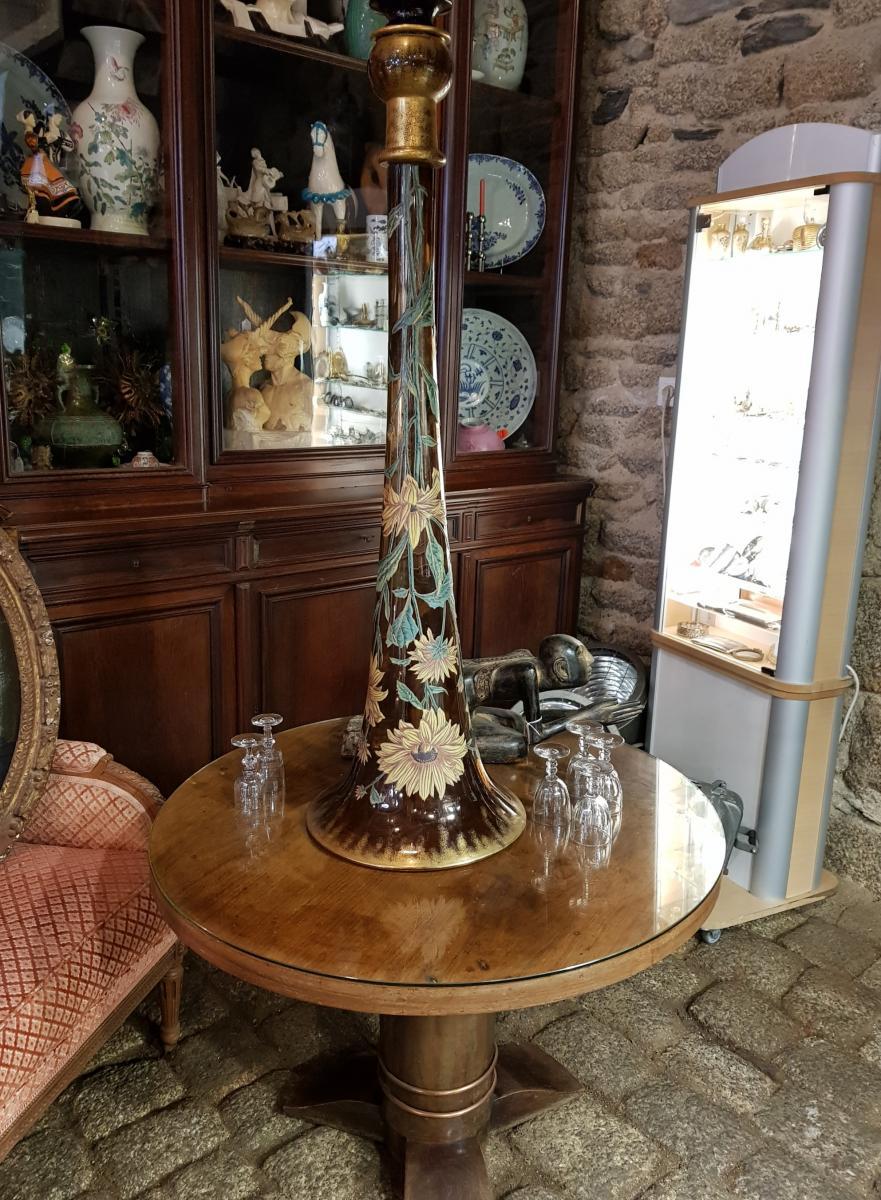 Monumental Vase De 118 Cm Legras Ou Gallé Vers 1880 -photo-2