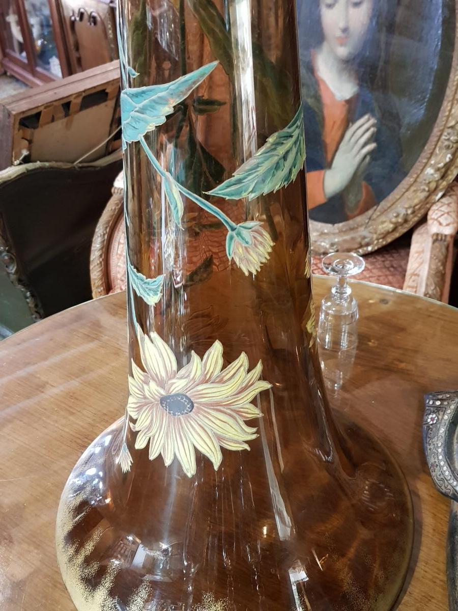 Monumental Vase De 118 Cm Legras Ou Gallé Vers 1880 -photo-3