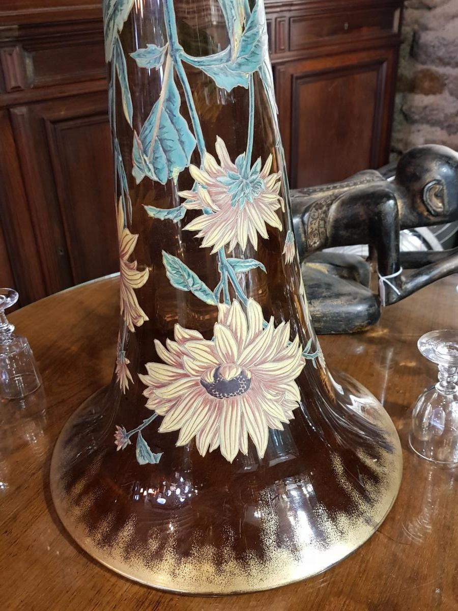 Monumental Vase De 118 Cm Legras Ou Gallé Vers 1880 -photo-5