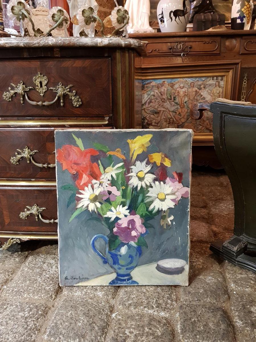 Huile Sur Toile Bouquet De Fleurs Au Pichet Par Georges Joubin (1888-1983)-photo-1