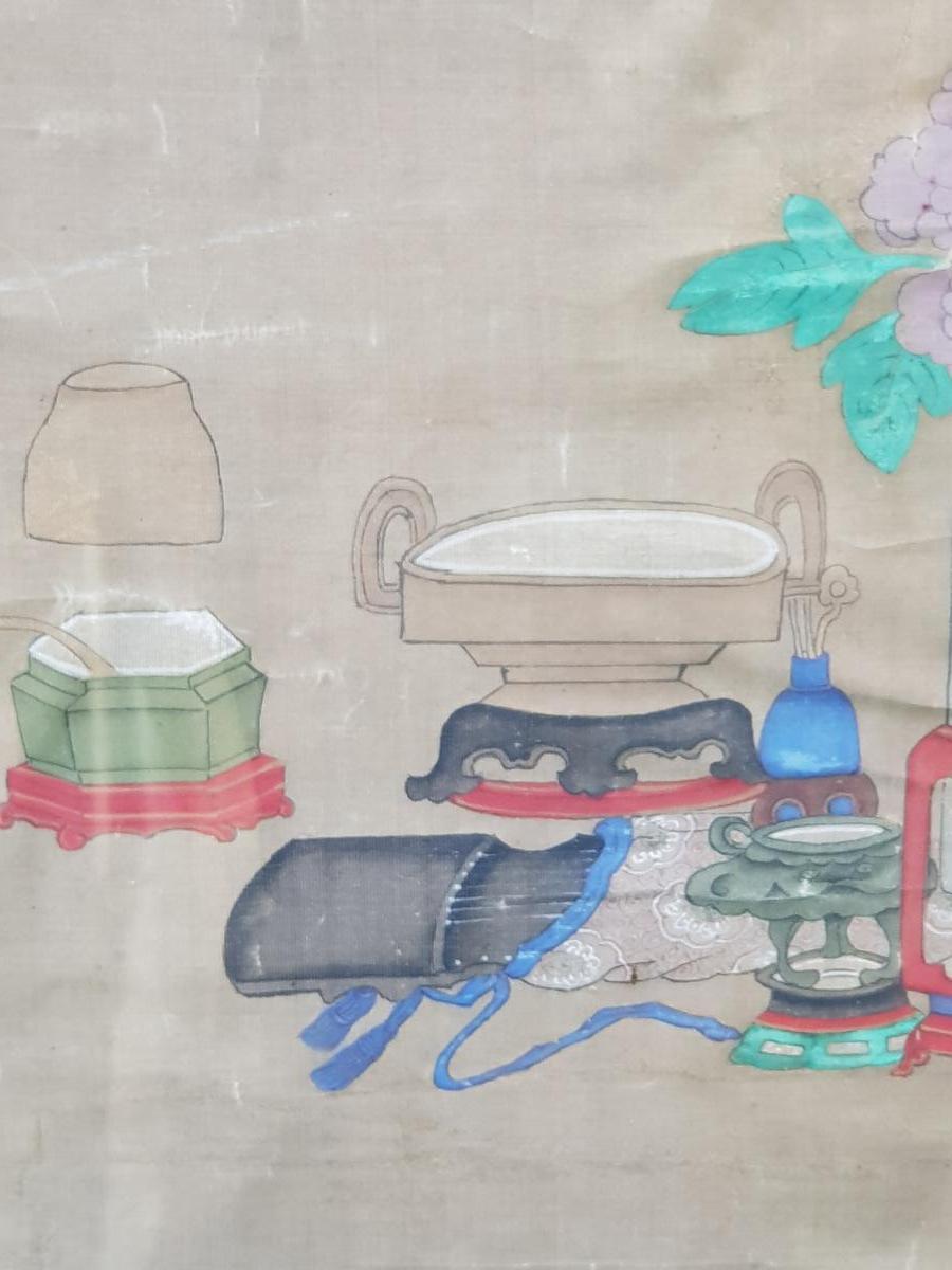Peinture Chinoise ou Vietnamiène 18ème Aux Antiquités Et Objets De Lettré.
