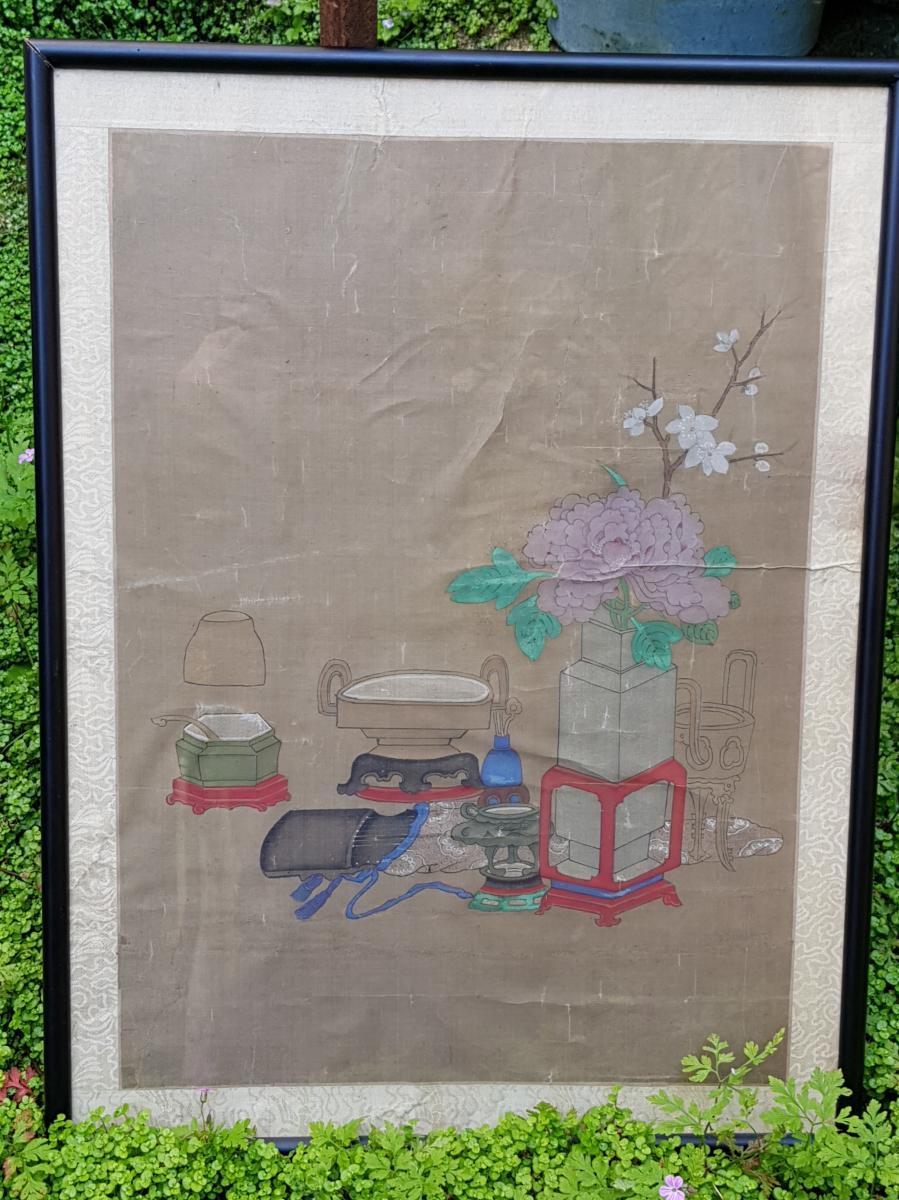 Peinture Chinoise ou Vietnamiène 18ème Aux Antiquités Et Objets De Lettré.-photo-2
