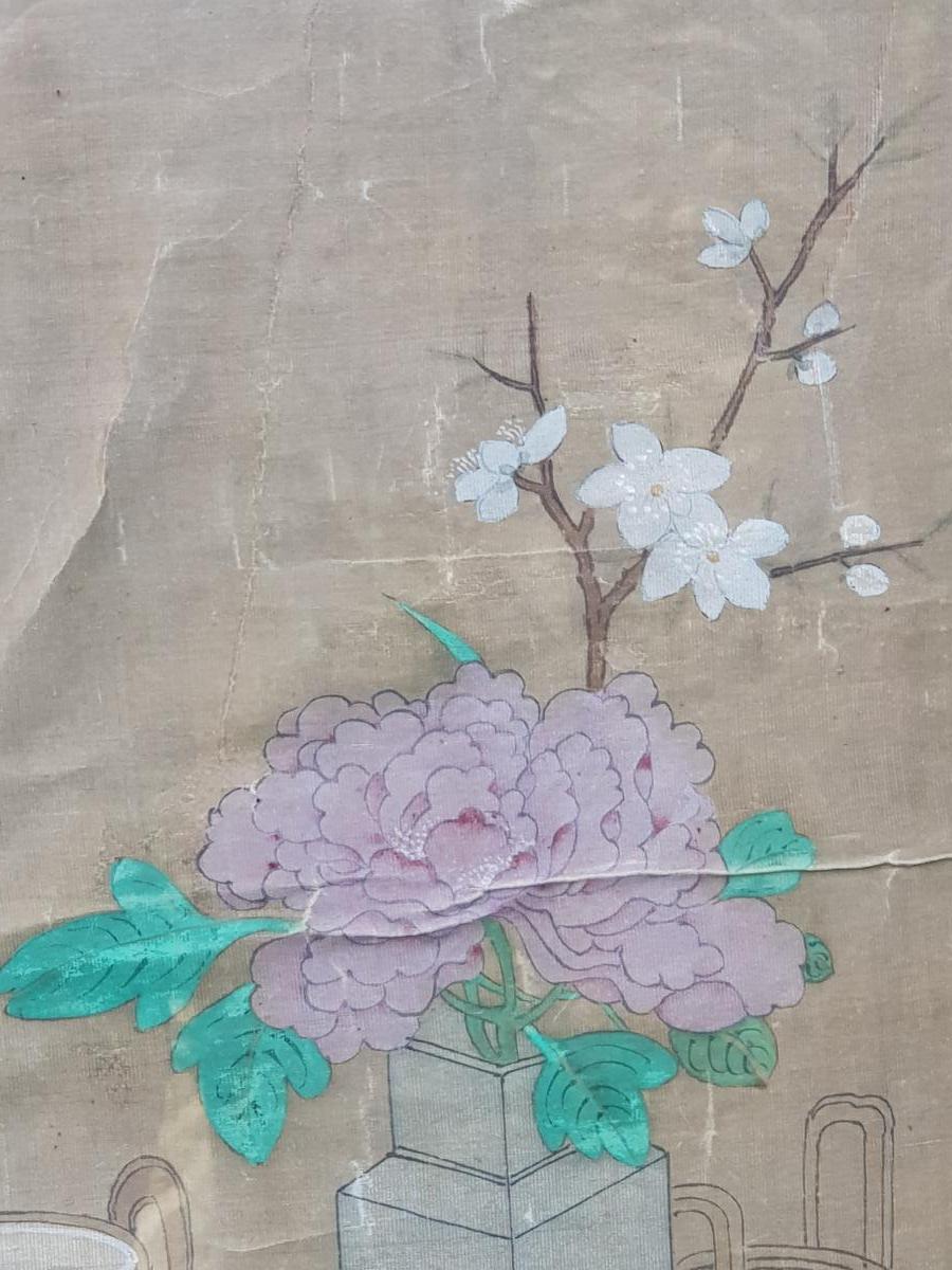 Peinture Chinoise ou Vietnamiène 18ème Aux Antiquités Et Objets De Lettré.-photo-3