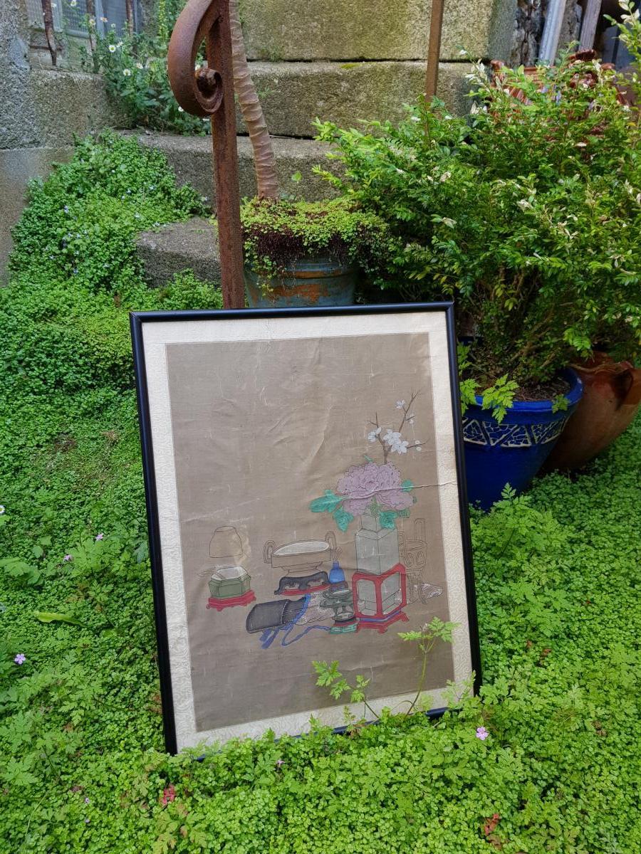 Peinture Chinoise ou Vietnamiène 18ème Aux Antiquités Et Objets De Lettré.-photo-4