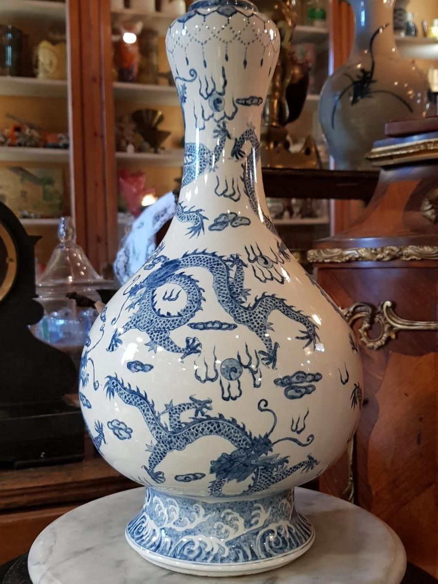 Vase Garlic Blanc Bleu Porcelaine Décor Impérial Aux Neuf Dragons.-photo-2