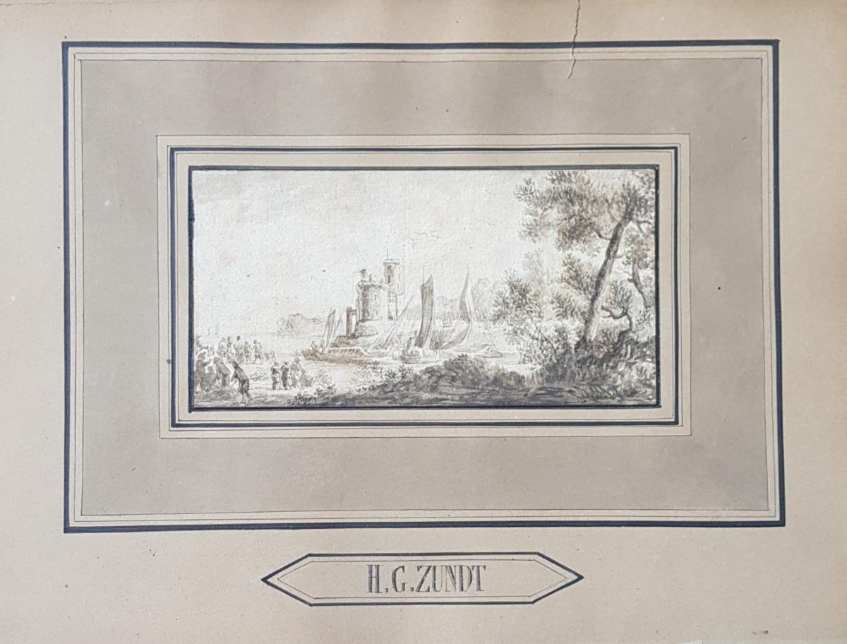 Petit Dessin Encre 18ème Scène Portuaire St. Lacroix De Marseille Ou Joseph Vernet