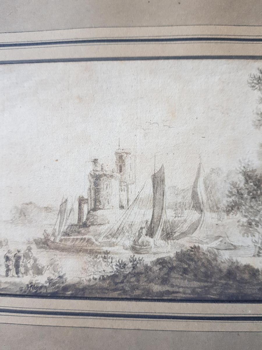 Petit Dessin Encre 18ème Scène Portuaire St. Lacroix De Marseille Ou Joseph Vernet-photo-4