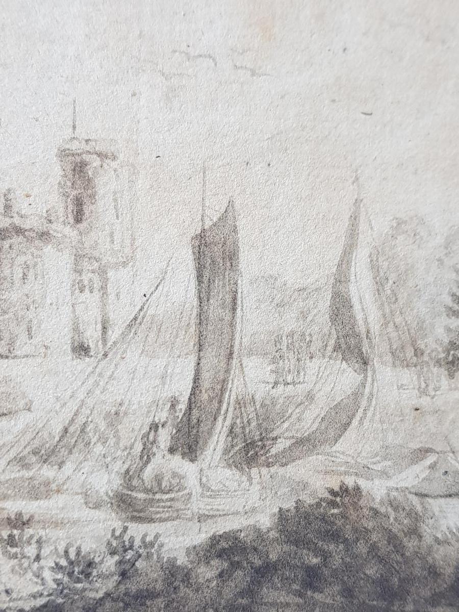 Petit Dessin Encre 18ème Scène Portuaire St. Lacroix De Marseille Ou Joseph Vernet-photo-5