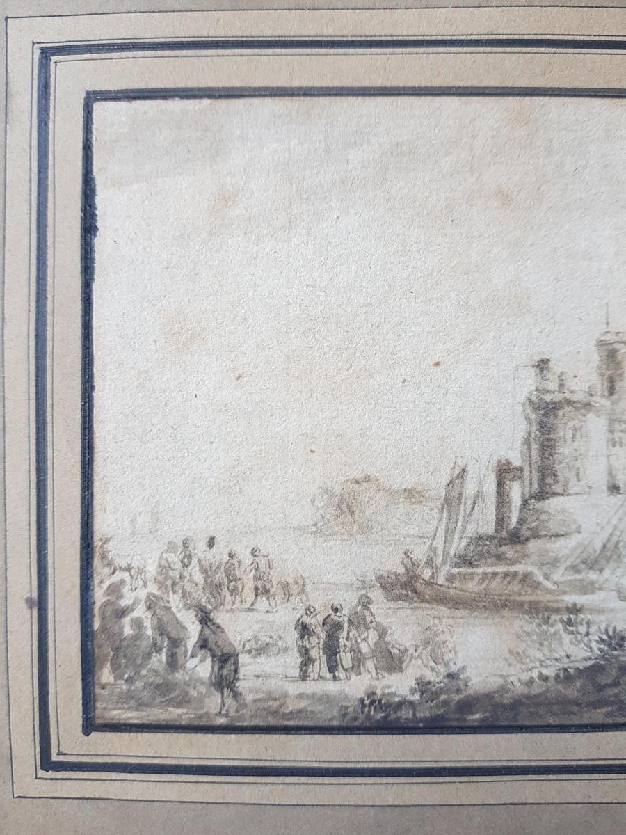 Petit Dessin Encre 18ème Scène Portuaire St. Lacroix De Marseille Ou Joseph Vernet-photo-7